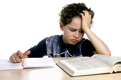 boy struggling with reading